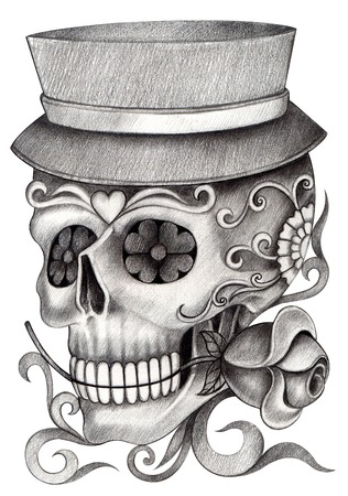 rose photo: Art Skull Day of the dead.Hand Drawing on paper.