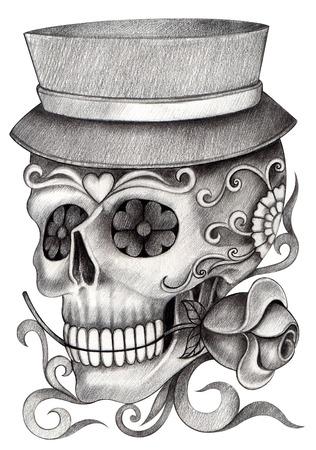 Arte Cráneo Día del Dibujo dead.Hand en papel. Foto de archivo - 34482016