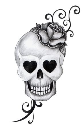 죽은: 해골 문신. 손으로 종이에 그리기. 스톡 사진
