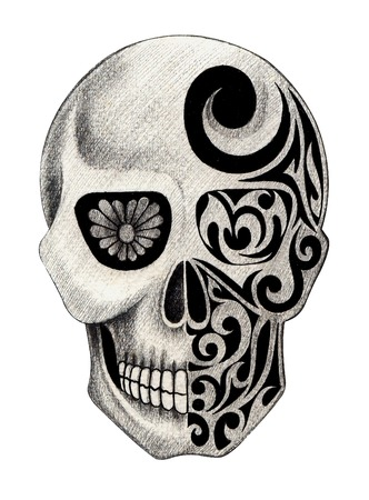 beautiful eye: Skull Tattoo. Hand Drawing on paper.