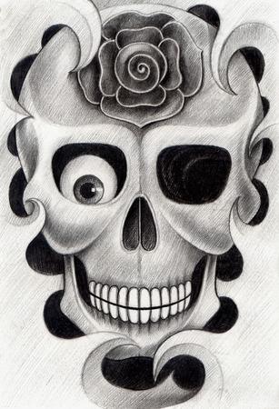 snob: Skull Tattoo. Hand Drawing on paper.