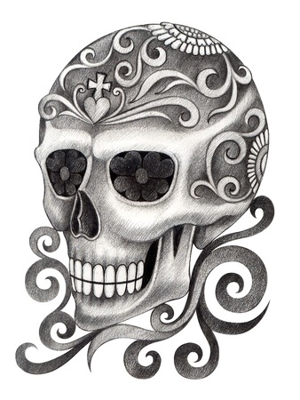 all souls' day: Art Skull Day of the dead.Hand Drawing on paper.