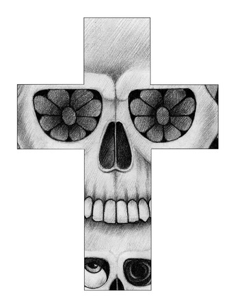 catrina: Art skull cross day of the dead. Hand drawing on paper.