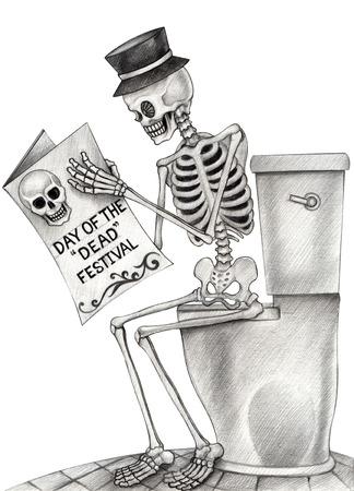 죽은 사람의 예술 두개골 날. 손으로 종이에 그리기입니다.