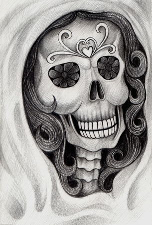 catrina: Art skull day of the dead. Hand drawing on paper.