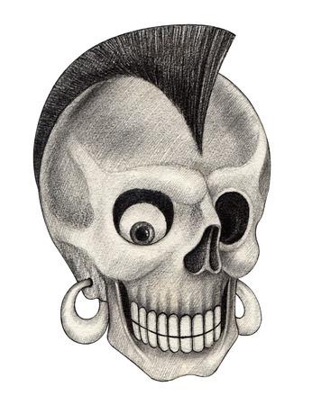 catrina: Skull punk.Hand drawing on paper.