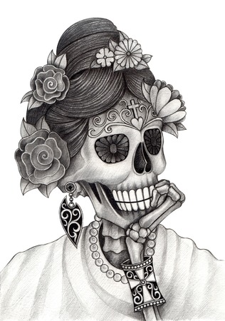 Art Skull Día de los muertos. Gráfico de la mano en el papel. Foto de archivo - 34811876