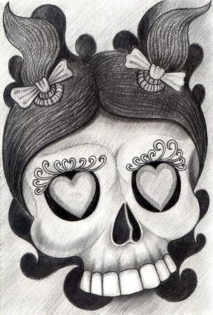 calavera caricatura: Cr�neo infantil tatuaje .Hand dibujo sobre papel.