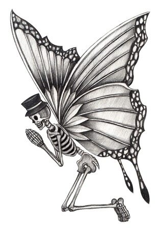 butterfly  angel: Art Skull fairy day of the dead. Hand drawing on paper.