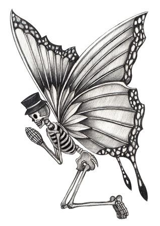 calavera caricatura: Cr�neo del arte de hadas del d�a de los muertos. Gr�fico de la mano en el papel. Foto de archivo