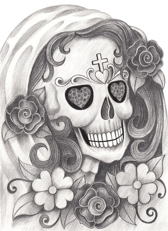 all love: Art Skull Day of the dead.Hand Drawing on paper.