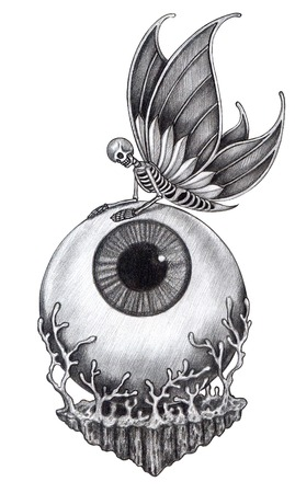 dead insect: Skull surreal tattoo .Hand drawing on paper.