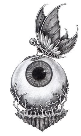 tatouage ange: Tatouage de cr�ne surr�aliste .� main dessin sur papier.