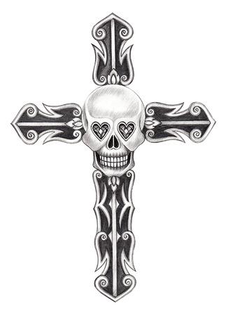 heavy heart: Art skull cross . Hand drawing on paper.