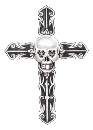 Art skull cross . Hand drawing on paper.