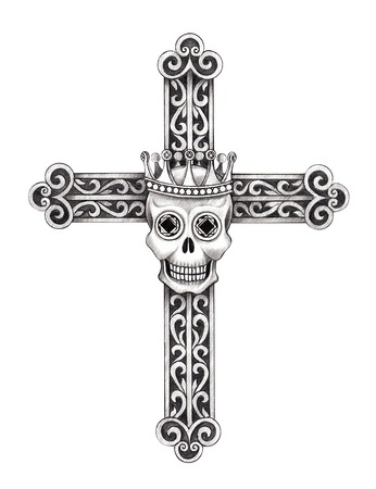 death metal: Art skull cross . Hand drawing on paper.