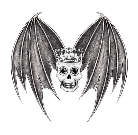 cross hair: Art skull wings devil. Hand drawing on paper.