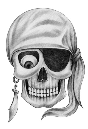 goofy: Skull Pirate Tattoo. Hand Drawing on paper.