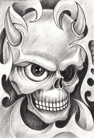 diavoli: Skull Tattoo. Disegno a mano su carta.
