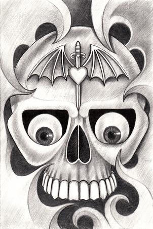 dork: Skull tattoo .Hand drawing on paper. Stock Photo