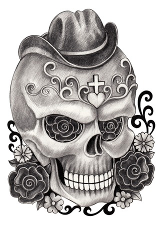all souls day: Art Skull Day of the dead.Hand Drawing on paper.