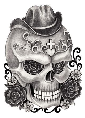 Arte Cráneo Día del Dibujo dead.Hand en papel. Foto de archivo - 36448301