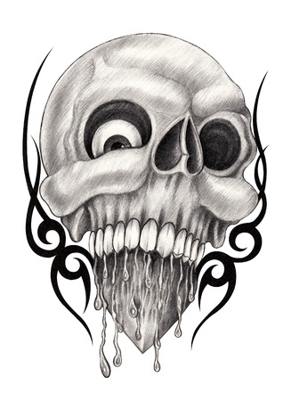 snob: Art Skull Heart Tattoo .Hand drawing on paper. Stock Photo