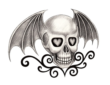 dork: Art Skull Wing .Hand drawing on paper.
