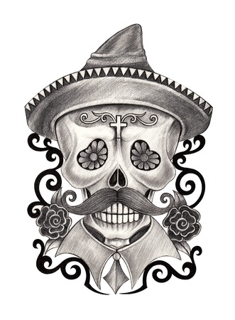 smiling man: Art Skull Day of the dead.Hand Drawing on paper.