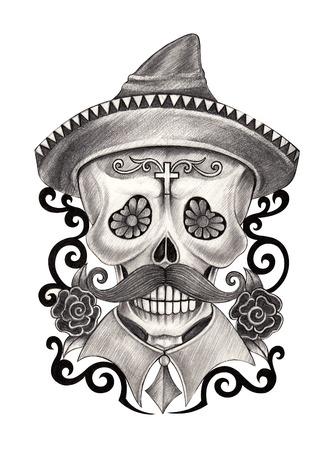 hombre con sombrero: Arte Cr�neo D�a del Dibujo dead.Hand en papel.