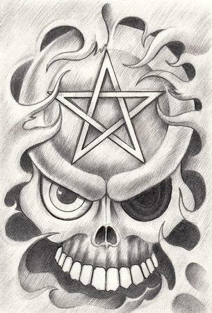 death metal: Art Skull Pentagram Tattoo. Hand Drawing on paper. Stock Photo