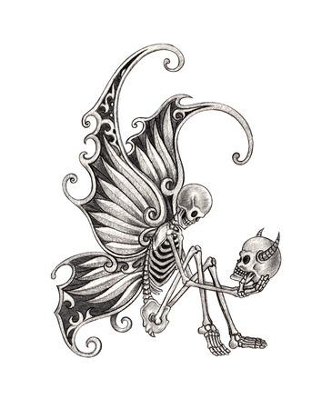 teufel engel: Sch�del-Fee Tattoo. Hand Zeichnung auf Papier.
