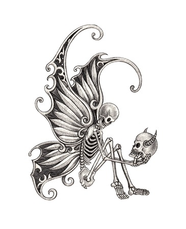 horrors: Skull Fairy Tattoo. Hand Drawing on paper.
