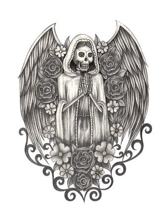 tatouage ange: Jour Cr�ne Art du dessin dead.Hand sur papier.
