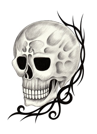 death metal: Skull Tattoo. Hand Drawing on paper.