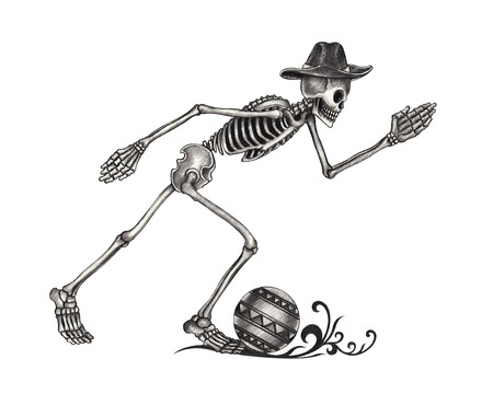 human skeleton: Art Skull Day of the dead.Hand Drawing on paper.
