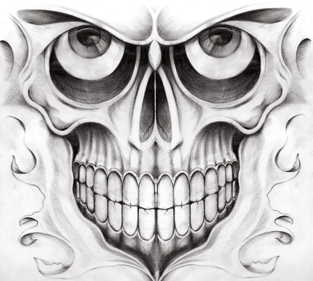 pencil drawing: Skull Tattoo. Hand pencil Drawing on paper. Stock Photo