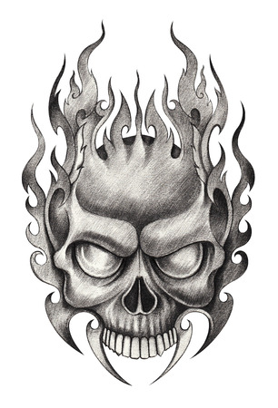 head shape: Skull Tattoo. Hand pencil Drawing on paper. Stock Photo