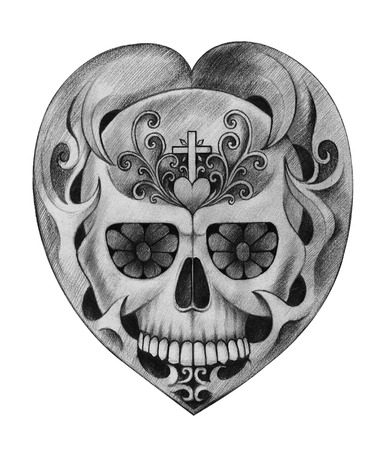 all souls' day: Art Skull heart Day of the dead.Hand pencil drawing on paper.