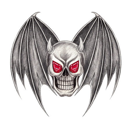 death metal: Skull devil wing.Hand pencil drawing on paper.