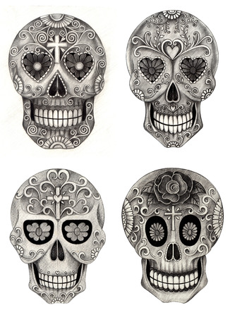 all souls day: Art Skull Day of the dead.Hand pencil drawing on paper.