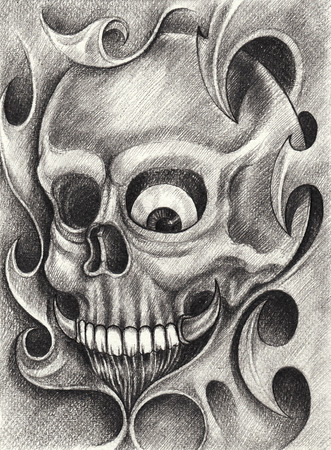 hand pencil: Skull Tattoo. Hand pencil drawing on paper.