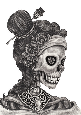 Art Skull Day of the dead.Hand pencil drawing on paper.