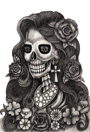Skull art fashion jewelryday of the dead festival.Hand pencil drawing on paper. photo