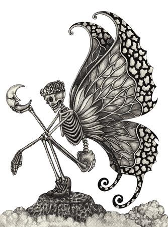 Schedelkunst fee surrealistisch. Hand tekening van het potlood op papier. Stockfoto - 38899971
