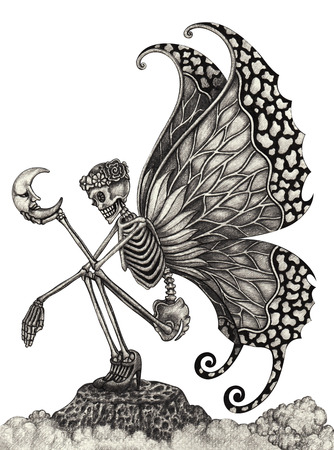 pencil drawing: Skull art  fairy  surreal. Hand pencil Drawing on paper.
