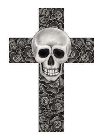 death metal: Skull art cross rose ,Hand pencil drawing on paper. Stock Photo