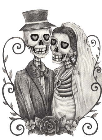 Cráneo día de la boda del arte de los muertos festival.Hand dibujo a lápiz sobre papel. Foto de archivo - 38899975