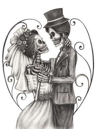 calaveras: Cráneo día de la boda del arte de los muertos festival.Hand dibujo a lápiz sobre papel.