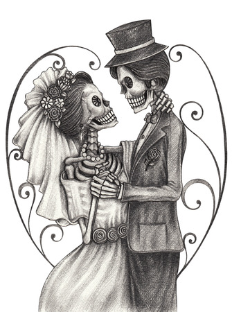 Skull art wedding day of the dead festival.Hand pencil drawing on paper.